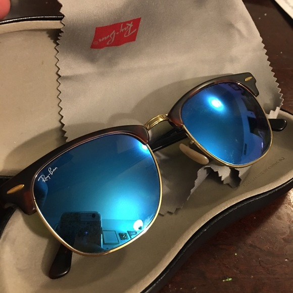 ca9eda0a636 ... new style ray ban clubmaster sunglasses blue lenses f8b1b a3470